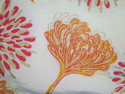 Chrysanthemum screen print on silk
