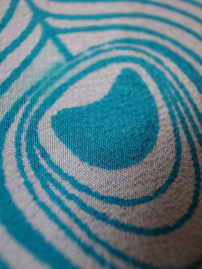Peacock feather screen print on silk detail