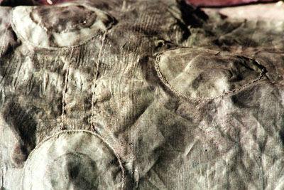 Dyed latex on fabric & stitch