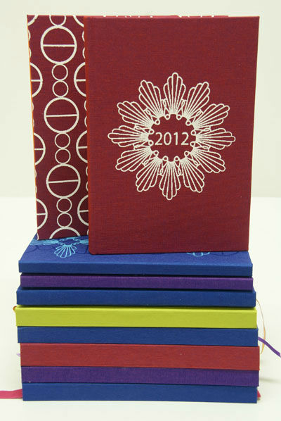 Hand bound screen printed books