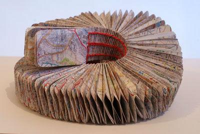 'Winding road'- coptic stitch & maps