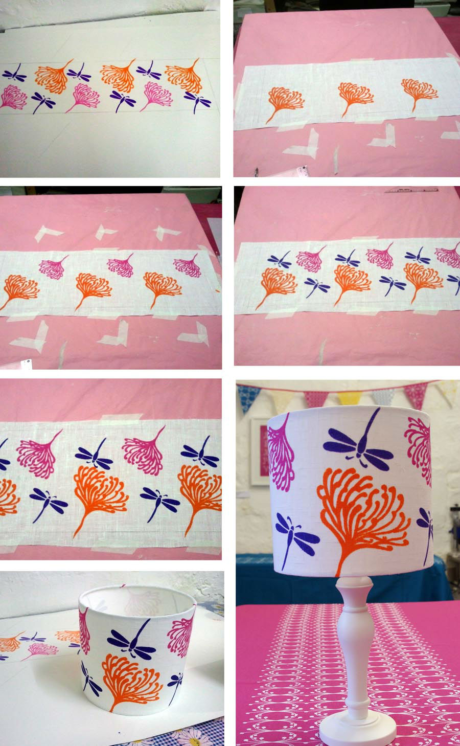 Stages of  Screen Printing a Lampshade